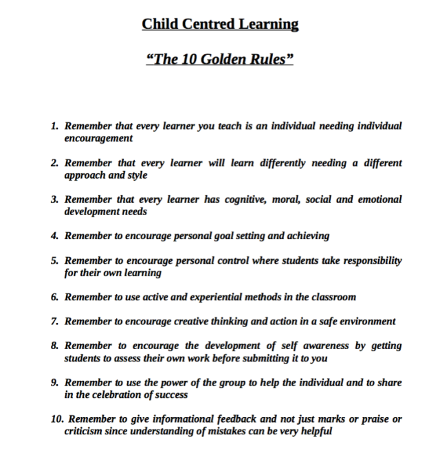 Child Centred Golden Rules